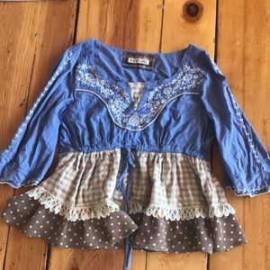 Tops - Country chic peplum embroidery lace shirt